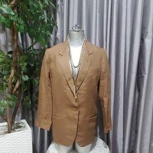 Vintage Gucci 100% Linen Brown Blazer Size 10